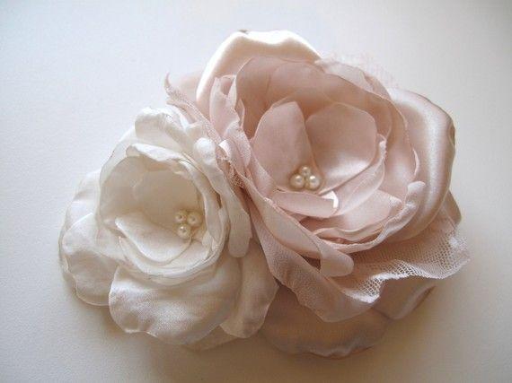 JUNE Bridal Hair Piece Ivory Pink Champagne Wedding Head Piece