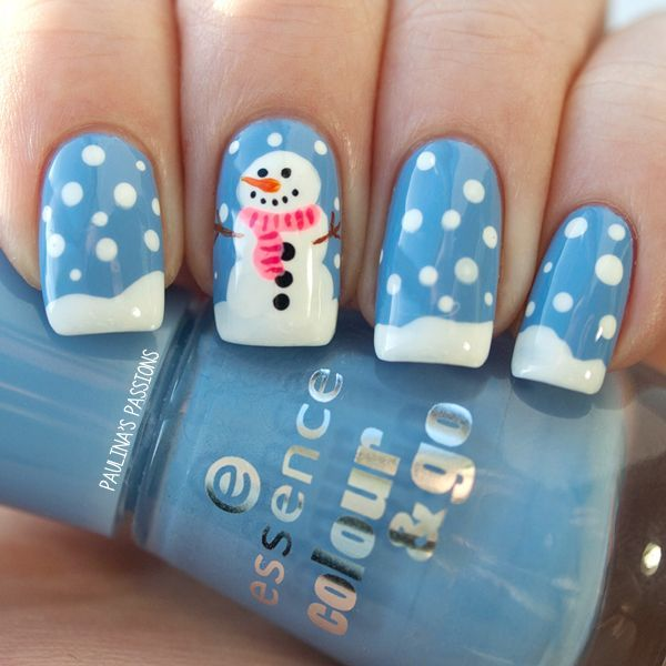 blue, white, orange, pink, red, and black snowman nails!! =)
