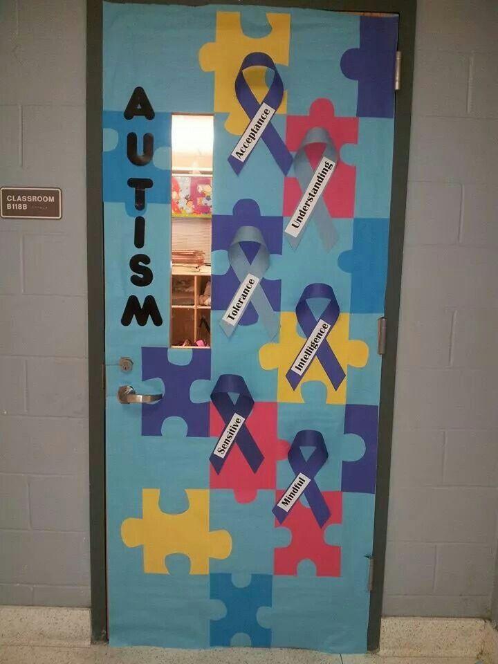 My classroom door for Autism month