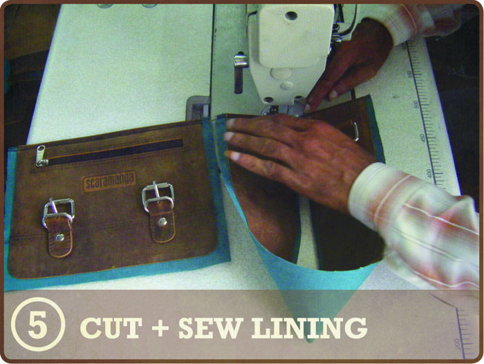 STEP 5 CUT & SEW LINING - Our satchels are lined with a hard wearing green/blue cotton fabric. The lining is cut to the same size as the leather pieces, and a light adhesive is used to position the lining over the leather.