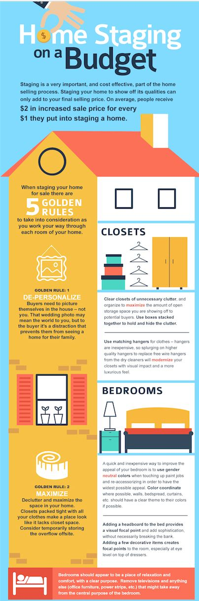 """Great infographic on the """"5 Golden Rules of Home Staging on a Budget."""" #1 = DE-PERSONALIZE"""