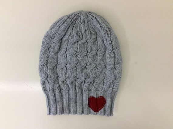 Grey Lambswool Heart Beanie