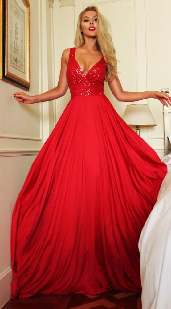 Blingbling Red V-Neck Sequined Evening Gowns,A Line Prom Dress with open Back,41912