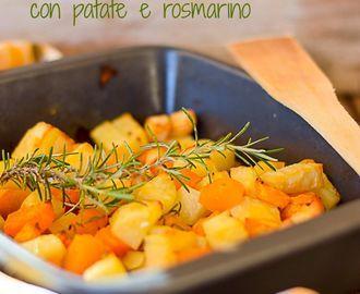 Zucca al forno con patate. ½ kg di polpa di zucca gialla. Questo piatto è semplicissimo e gustoso mi piace l'abbinamento della zucca con le patate e il profumo del rosmarino