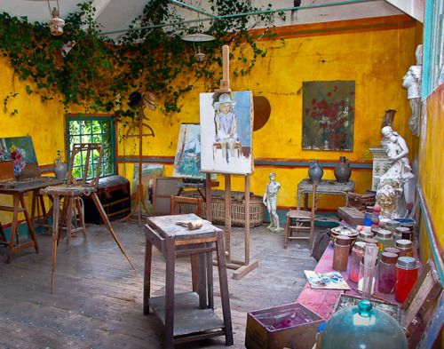 Monet's studio: cheery, bright and not too cluttered, nice window. #artists, #interiors, #colour.