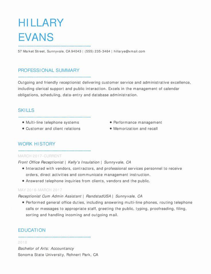 Entry Level Receptionist Resume Lovely Free Resume