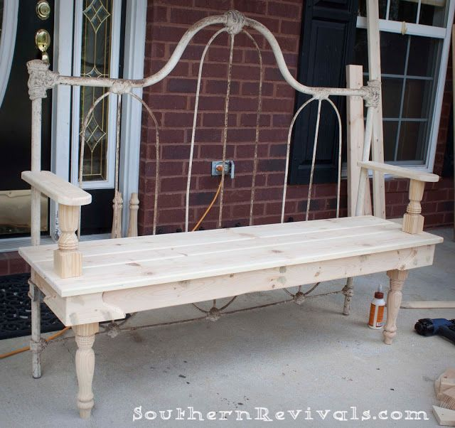 I have had a head board that I want to do this with for years. Maybe it will finally happen. DIY Repurposed Metal Headboard Bench - Southern Revivals