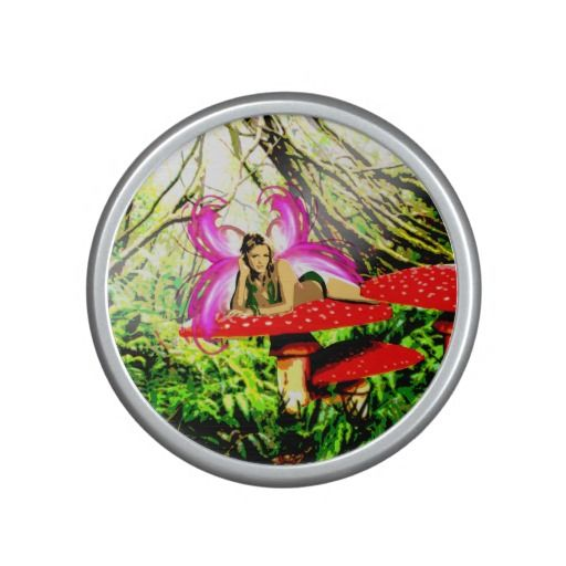 http://www.zazzle.com.au/fairy_laying_on_a_mushroom_bumpster_speaker-256062759698102587?rf=238523064604734277 Fairy Laying On A Mushroom Bumpster Speaker - This bumpster Bluetooth speaker features a blonde fairy with pink wings laying stomach down on a red with white spots mushroom in a forest.