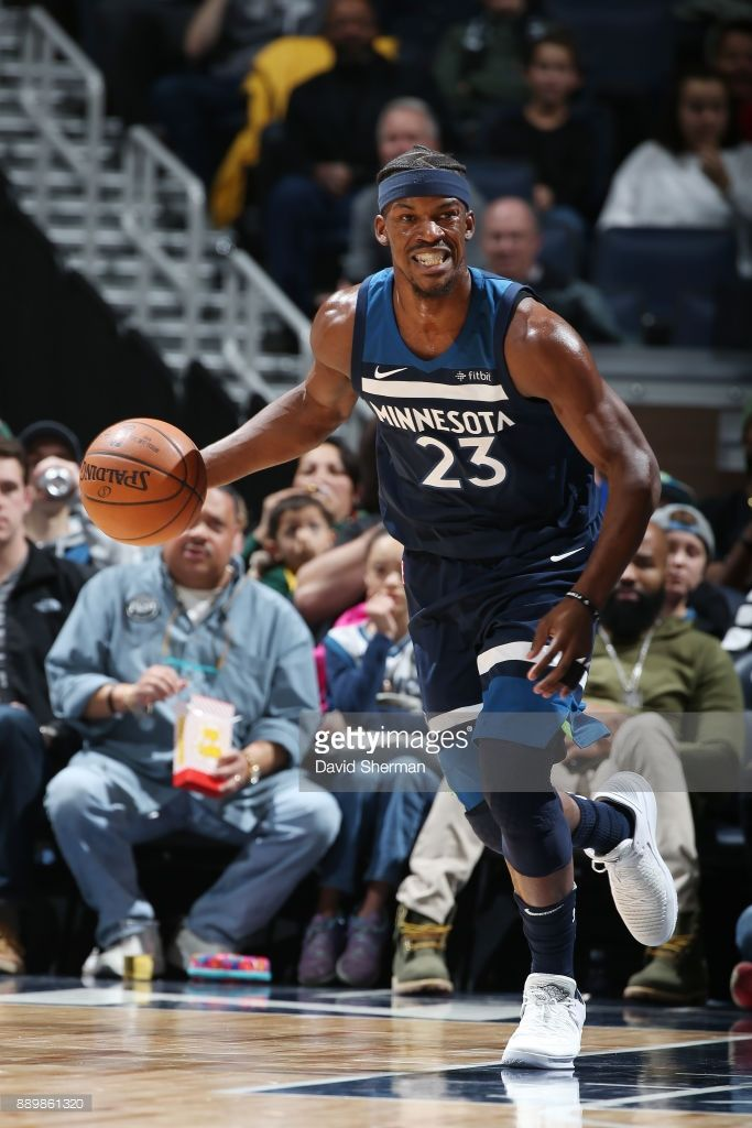 Jimmy Butler of the Minnesota Timberwolves handles the ball against the Dallas Mavericks on December 10, 2017 at Target Center in Minneapolis, Minnesota.