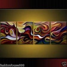 4 pedaços de Arte Abstrata Moderna Grande Pintura A Óleo Lona Parede Deco