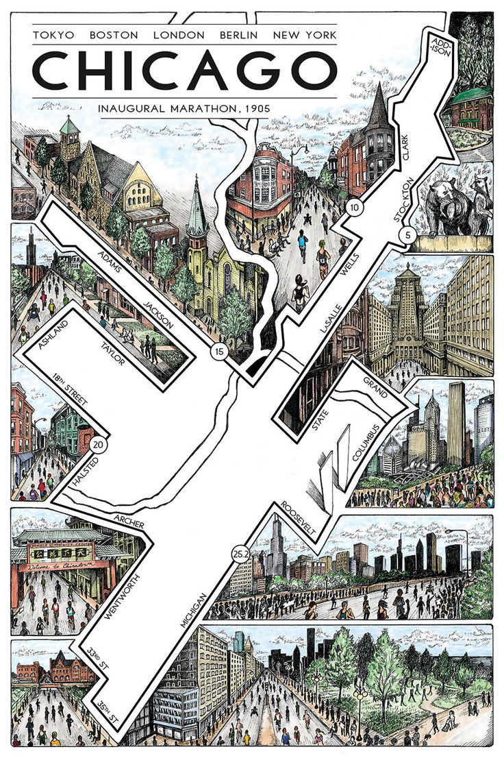 Les dessins de cartes de marathons de Phil T  Dessein de dessin