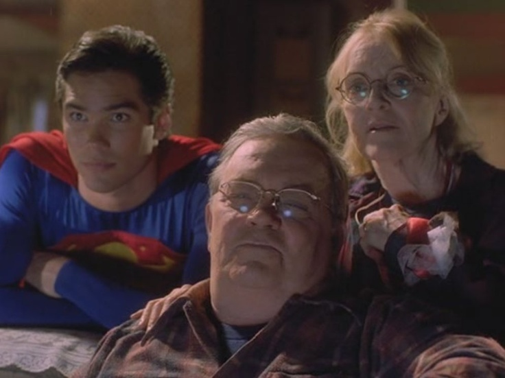 "By WB, Siegel & Shuster's Superman (Dean Cain), Jonathen Kent (Eddie Jones), and Martha Kent (K Callan) in ""Lois & Clark: The New Adventures of Superman"" S1E1-2 (1993-1997)"