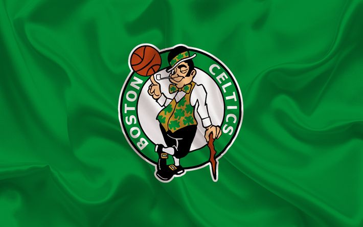 Descargar fondos de pantalla Celtics de Boston, NBA, baloncesto, estados UNIDOS, emblema de Boston Celtics, de seda verde
