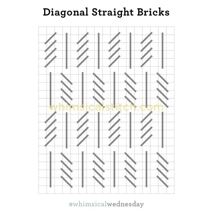 Diagonal Straight Bricks from January 31, 2018 whimsicalstitch.com/whimsicalwednesdays blog post.