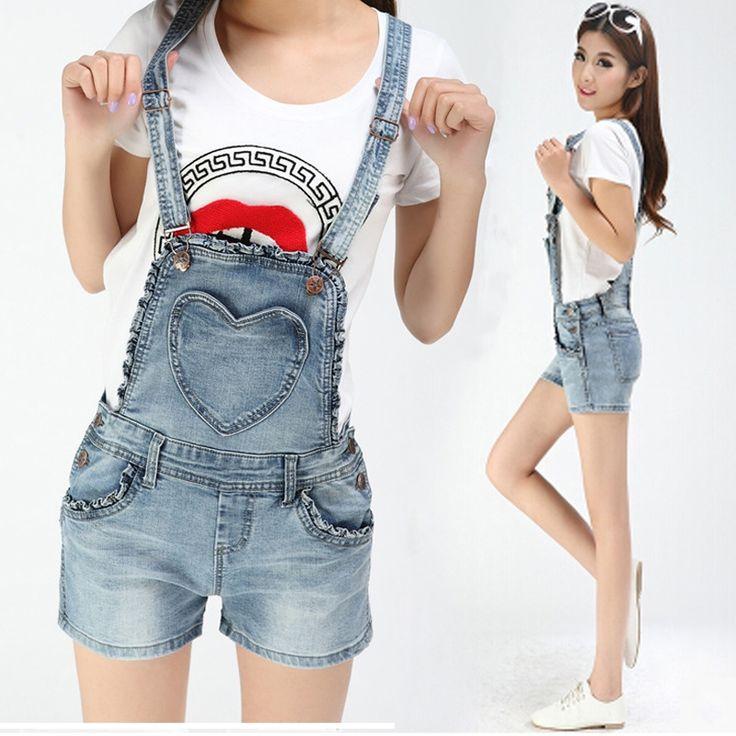 Denim salopette short salopette femme lâche coréenne mince trou hot shorts casual pantalons jeans délavé jean barboteuses salopettes dans jeans de Accessoires et vêtements pour femmes sur AliExpress.com   Alibaba Group
