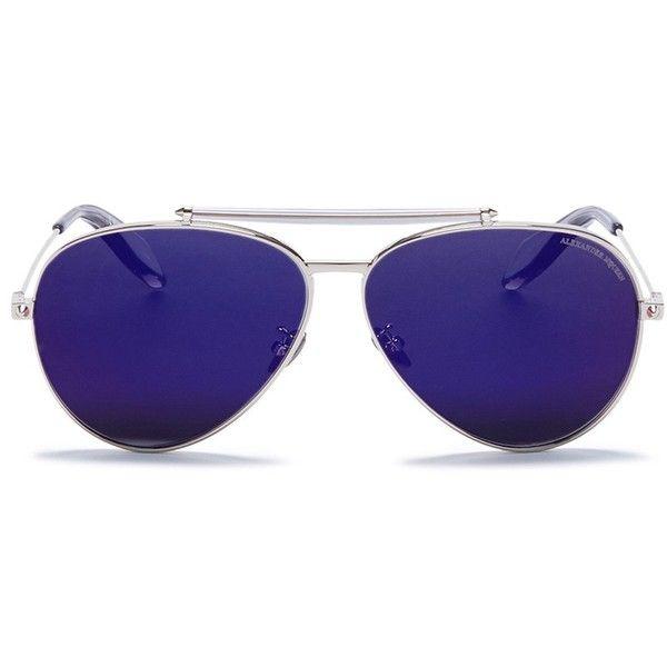 Alexander McQueen 'Piercing Pilot Frame' metal aviator mirror... ($487) ❤ liked on Polyvore featuring accessories, eyewear, sunglasses, metallic, aviator sunglasses, mirror lens sunglasses, mirrored sunglasses, metal aviator sunglasses and mirrored lens sunglasses