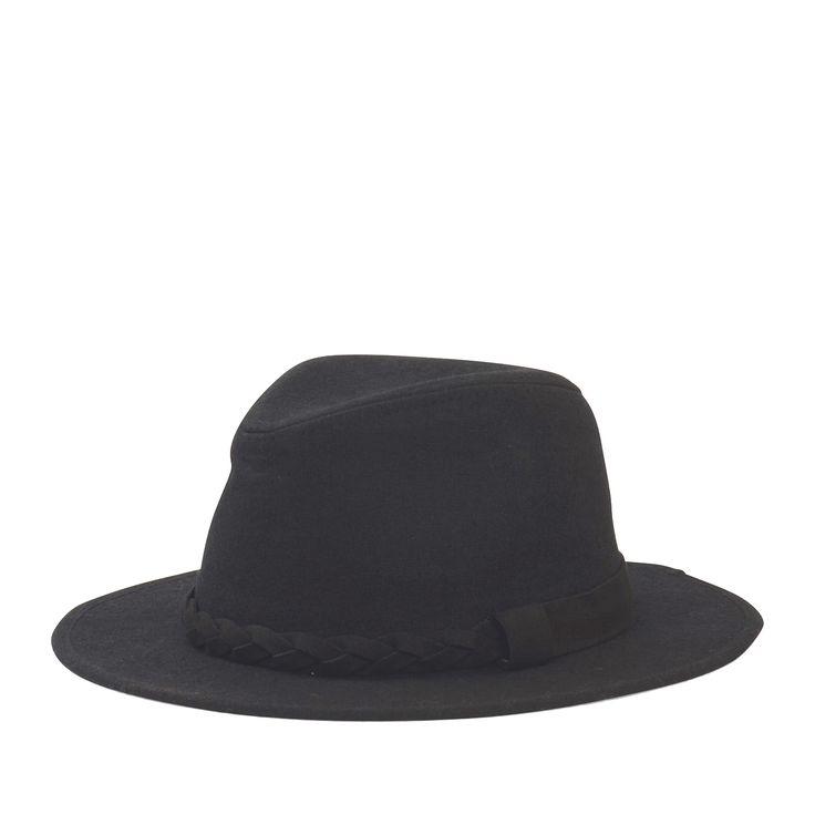 Fedora hoed met brede rand - zwart