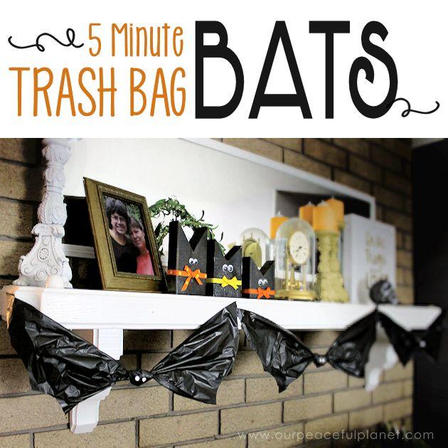 how to make 5 minute trash bag bat halloween decorations