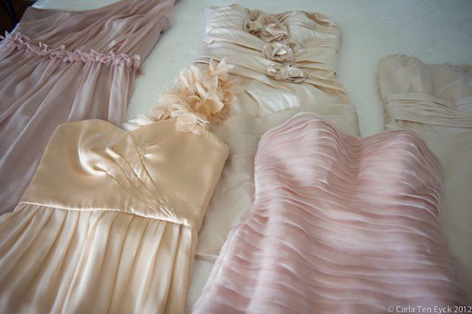 gorgeous mismatched bridesmaids dresses! Romantic, Pastel Hued, Beach Chic Wedding by Carla Ten Eyck http://su.pr/1o6pKI
