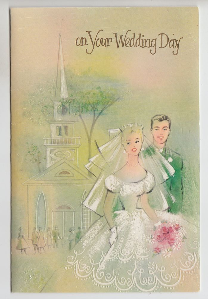 Vintage Bride And Groom By Church Congratulations On Your Wedding Greeting Card