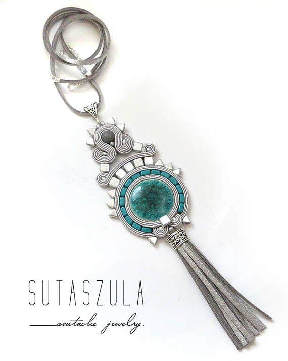 Tassel gray necklace soutache teal OOAK statement necklace