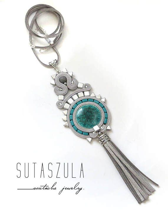 Tassel gray necklace soutache teal OOAK statement necklace