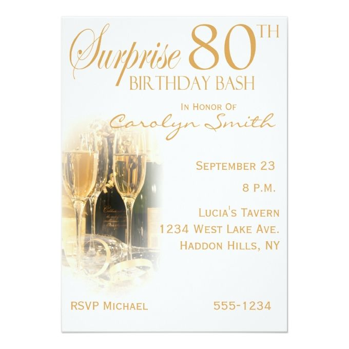 1432 best images about 80th Birthday Invitations on Pinterest Gold ...