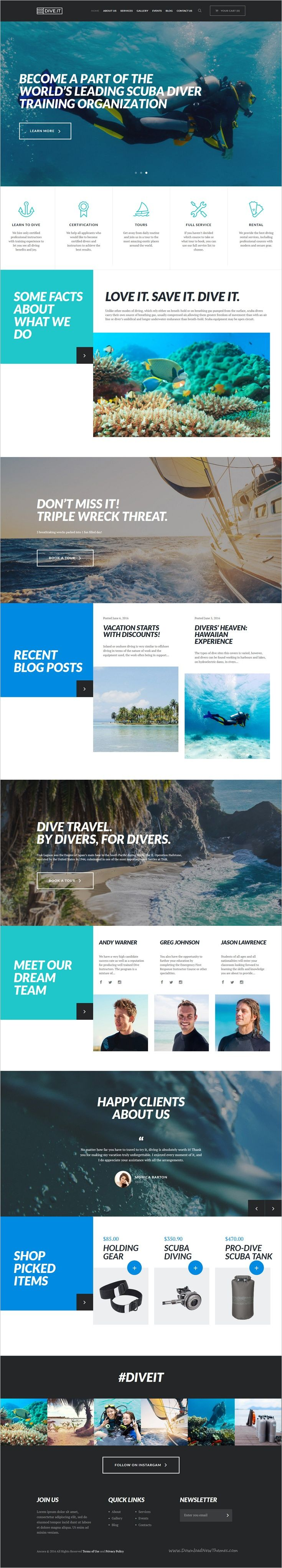 DiveIt is a modern and functional design responsive #WordPress theme for #Scuba #Diving School website download now➩ https://themeforest.net/item/diveit-scuba-diving-school-wordpress-theme/16978449?ref=Datasata