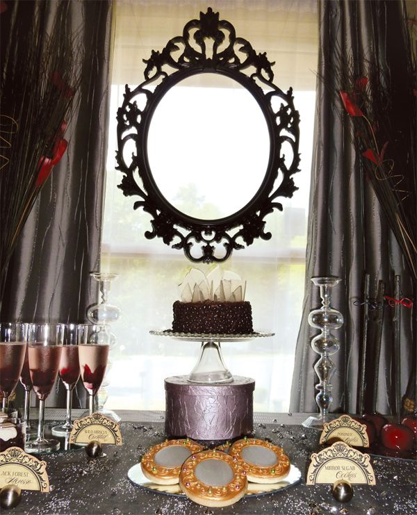 Elegant Evil Snow White Party dessert table via Hostess with the Mostess - some really cool details here!  Could also be adapted for a cool Halloween party!