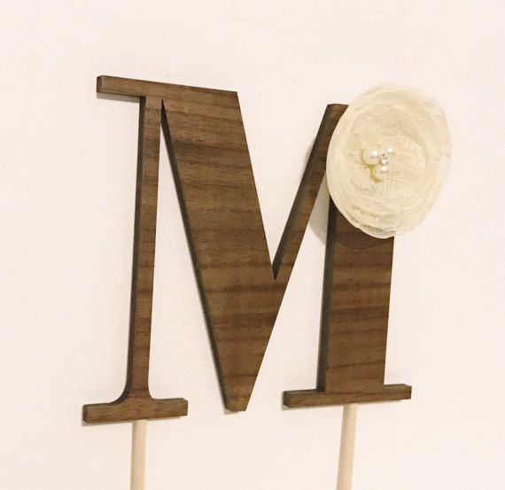 Minimal yet modern wood monogram cake topper with lace flower embellishment. Handmade.
