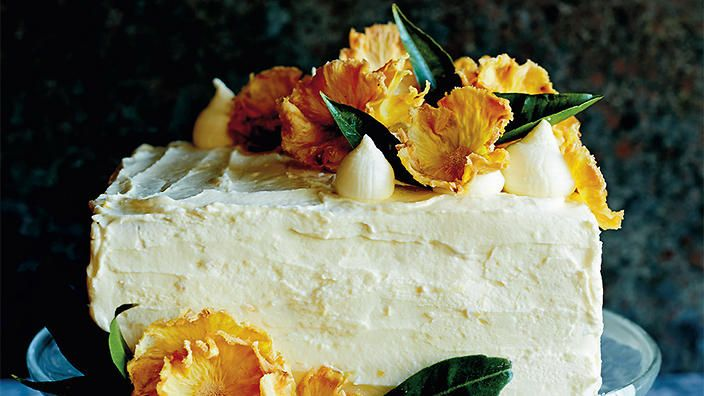 Hummingbird layer cake with pineapple flowers | Birthday cake recipes | SBS Food