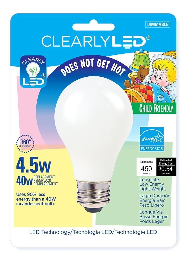 Clearlyled Childfriendly Filament Led Light Bulb 4 5w 450 Lumens Bulbs 2700k Light Color Shatter Resistant Coating Long Life An Light Bulb Led Light Bulb Bulb
