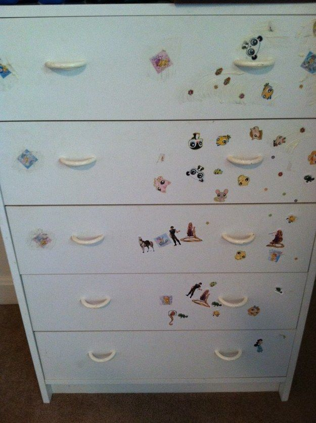 Get stickers off a dresser.