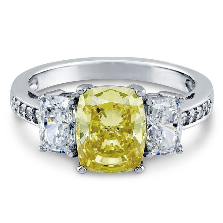 Berricle 925 Silver Cushion Canary Yellow Cz 3-Stone Engagement Ring 4.04 Carat