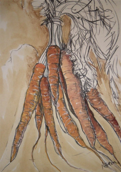 Natasha Clutterbuck charcoal vegetable Orange Carrots