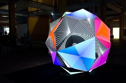 Parmenides I - a hypnotic sculpture incorporating a 360 degree digitally mapped video projection, presenting an amazing sense of movement, color and form.
