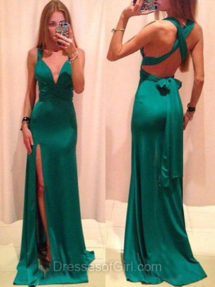 Sexy Prom Dress, Long Prom Dresses, Open Back Evening Gowns, Green Party Dresses, Column Formal Dresses