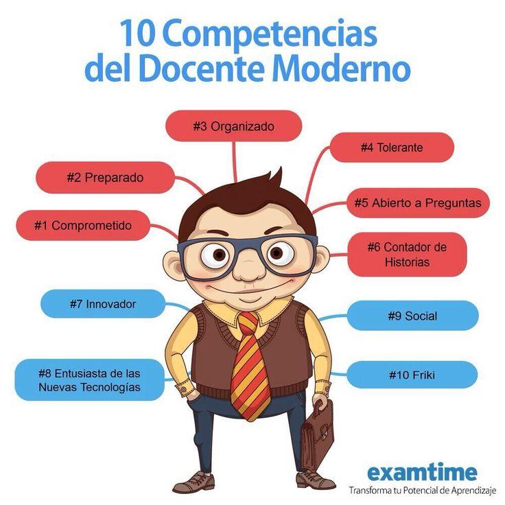 10 competencias del docente moderno vía: examtime #infografia #infographic #education