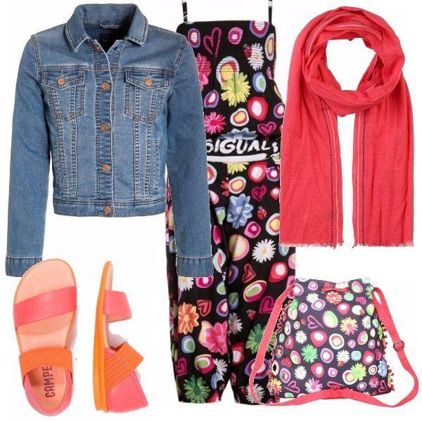 Outfit adatto a bimbe dai 7 agli 11, tutina coloratissima con zainetto in abbinamento. Sciarpetta color corallo, giacca di jeans e sandaletti corallo arancione per finire questo look coloratissimo di fine primavera, inizio estate.