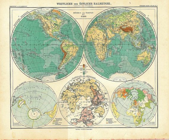 1911 Vintage World Map Eastern and Western by CarambasVintage, $45.00