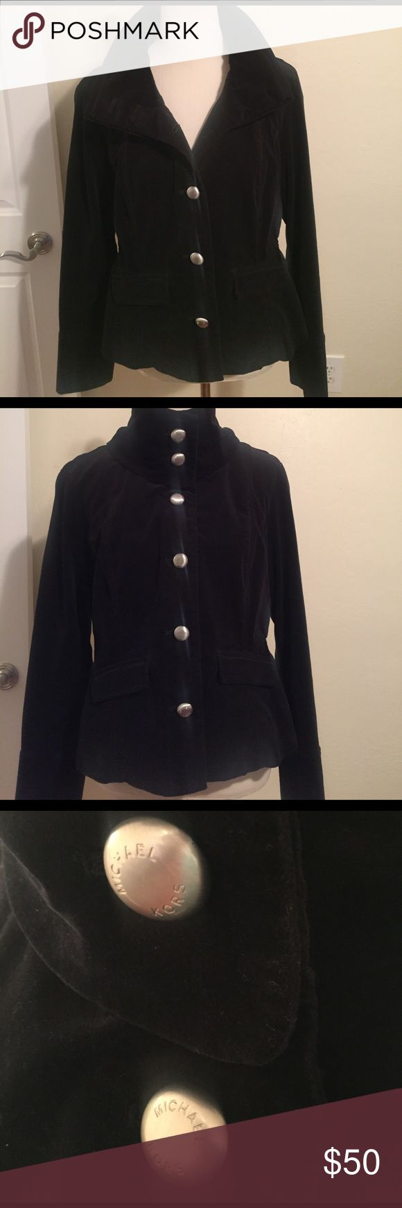 Michael Kors velvet military style coat This is a velvet Michael Kors military style coat. Large silver buttons with the Michael Kors logo on the front, back, and sleeves. MICHAEL Michael Kors Jackets & Coats Pea Coats