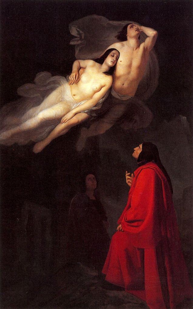 """Giuseppe Frascheri, """"Dante e Virgilio incontrano Paolo e Francesca"""" [Dante and Vergilius meet Paolo and Francesca], oil on canvas, 1846."""