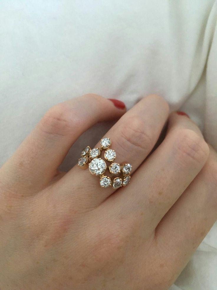 DIAMOND Custom cluster ring // Rose gold