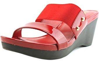 Lauren Ralph Lauren Rhianna Women Open Toe Patent Leather Red Wedge Heel.