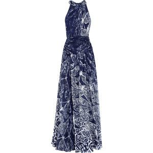 Discount 2018 Discount Choice Matthew Williamson Woman Wrap-effect Printed Silk-chiffon Gown Mint Size 14 Matthew Williamson Cheap Sale Genuine rWwf0i2