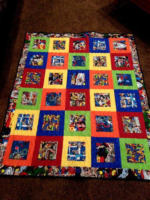 Superhero Patch Quilt is also available in one by LannersQuilts, $279 twin  Xander's room
