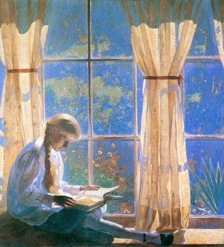 Orchard Window, 1918, Daniel Garber. American Impressionist Painter, (1880-1958)