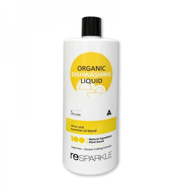 reSPARKLE Organic Dishwashing Liquid 1L refill $11.90 100 % Naturally powerful formula for sparkling dishes, plus gentle on your skin & our planet.   100% NATURAL 100% PLANT BASED SOAP FREE NON TOXIC CUTS THROUGH GREASE SUITABLE FOR SENSITIVE SKIN This is a low foam product but don't let that fool you, it most definitely does not impact the cleaning ability. Most foaming agents are harmful to your health. So no foam wins.