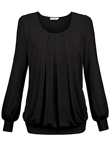 BAISHENGGT Damen Langarmshirt Rundhals Falten Shirt Stretch Tunika Schwarz L