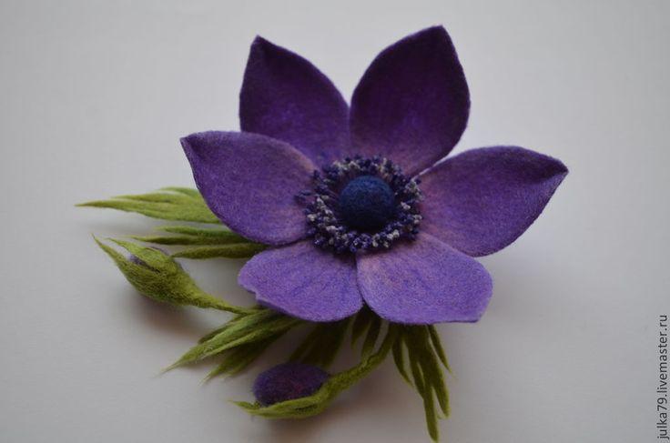 Купить Анемона - тёмно-фиолетовый, брошь, брошь цветок, брошь из войлока, цветок…